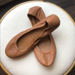 TORY BURCH tan Leather Ballet Flats